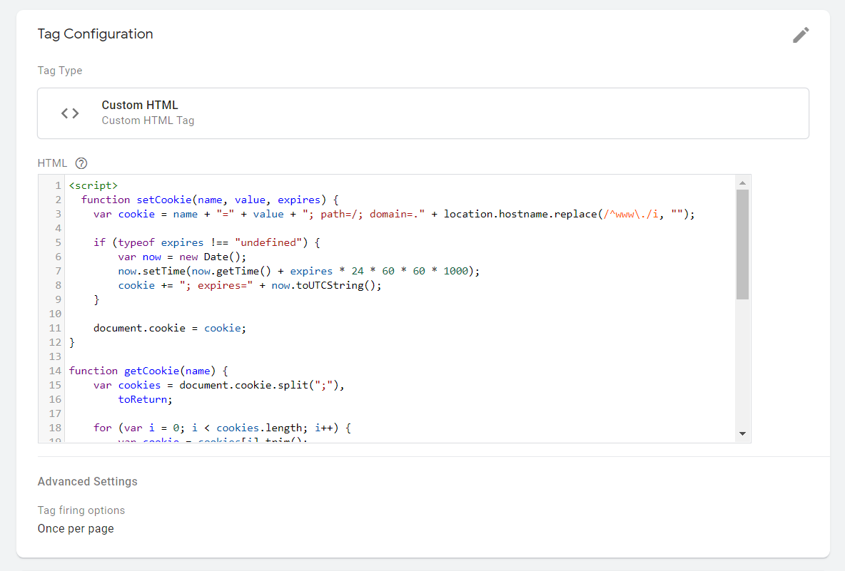 Google tag manager code