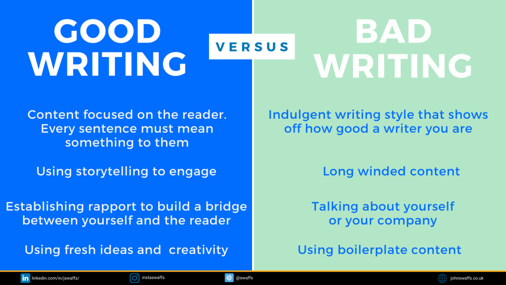 Twitter infographic what good writing looks like