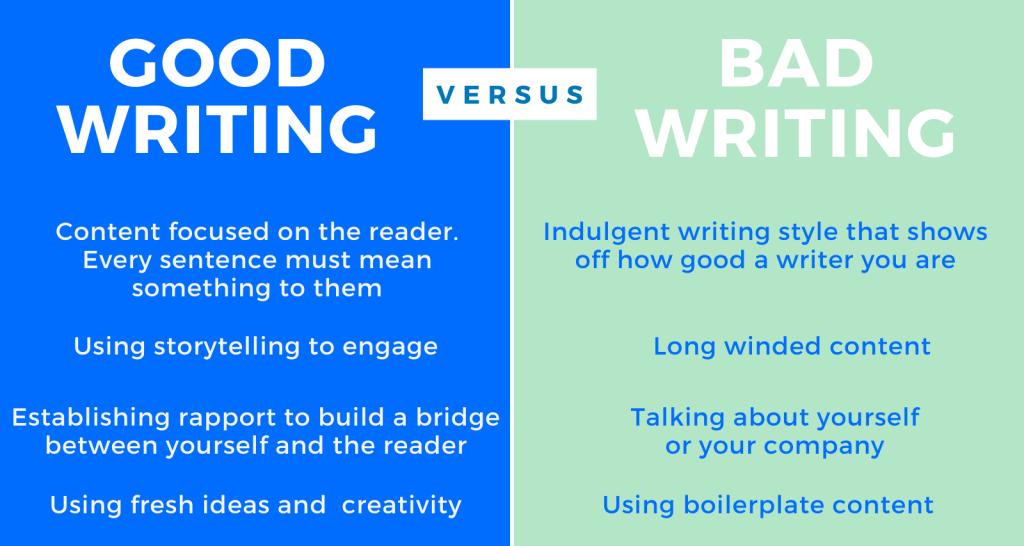 Good writing v bad writing